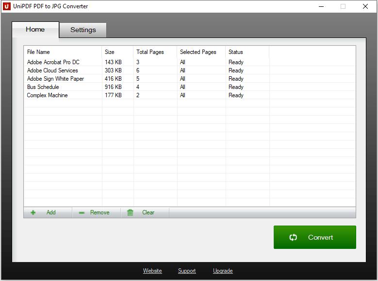 UniPDF PDF to JPG Converter full screenshot