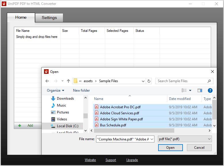 UniPDF PDF to HTML Converter - Add PDF files
