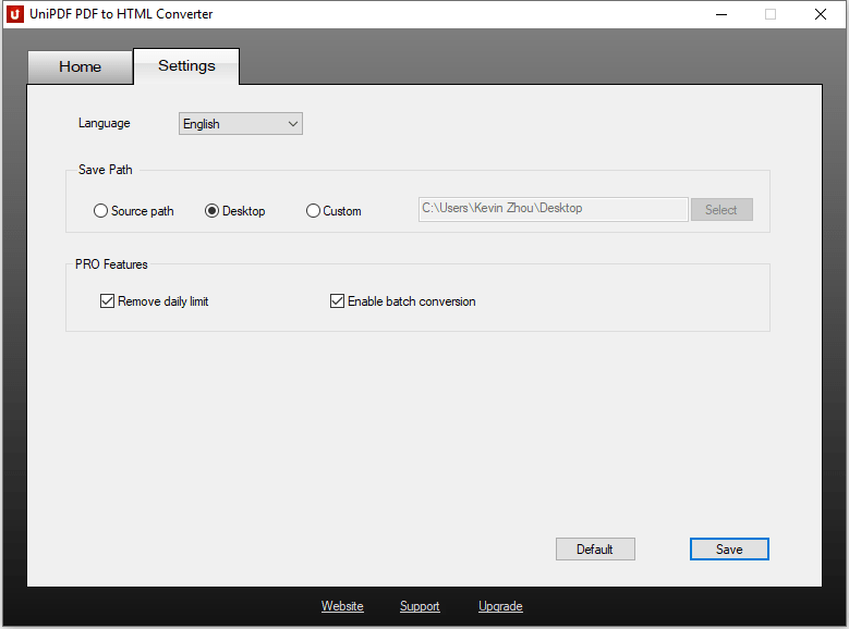 UniPDF PDF to HTML Converter - Settings