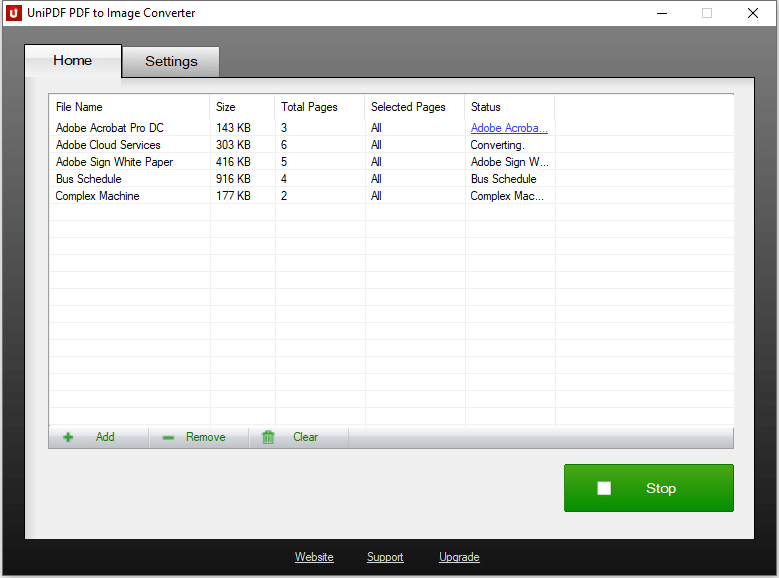 UniPDF PDF to Image Converter - Converting