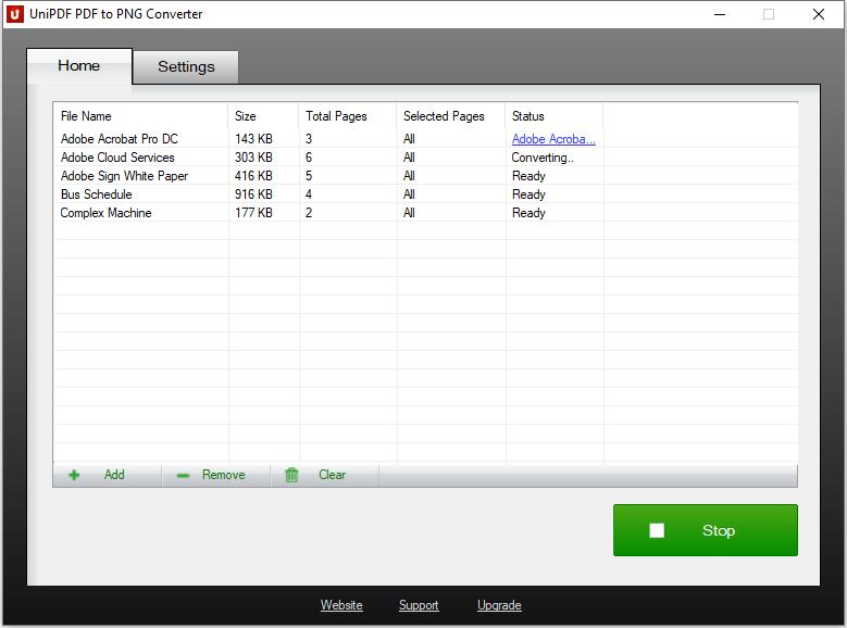 UniPDF PDF to PNG Converter - Converting