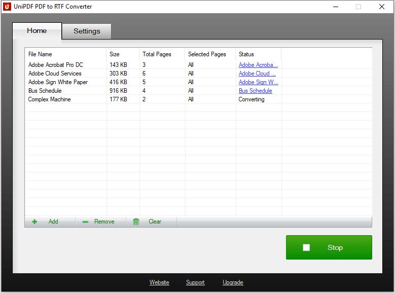 UniPDF PDF to RTF Converter - Converting